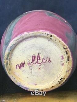 Weller Art Pottery Matt Ware (fru Russet) 6 1/2 Vase Rose & Green Leaves