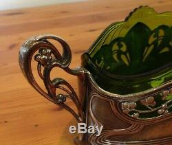 Wmf=art Nouveau=silver Plated Centrepiece=green Glass Liner=1880-1903=germany