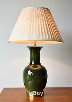 Wonderful Vintage Green Ceramic Brass Side Table Hall Lamp
