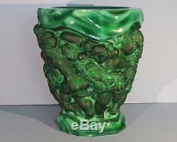 XL DESNA Malachite Glass Vase Schlevogt Hoffman Art Nouveau Czech Bohemia Green