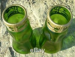 XL Pair Nouveau /Jugendstil Iridescent Green Glass Vases & Collars Kralik/Loetz