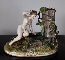 X-RARE Dressel Kister Porcelain Nude Figurine detachable bathing beauty at well