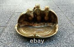 ZSOLNAY Antique Greeen-Gold Eozin Tray with Three Vultures and a Frog