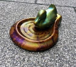 ZSOLNAY Art Nouveau Purple-Green EOZIN DUCK tray Antique Decorative Art ceramic